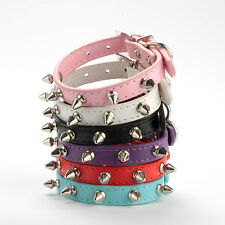 Rivet Spiked Studded Chic Strap Sweet Pet Cat Neck PU Leather Dog Collar Buckle