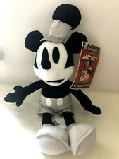 """RARE Steamboat Willie Mickey Mouse Black White  10"""" Plush Toy  '75 Years of Fun'"""