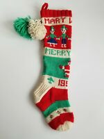 Vintage Hand Knit Christmas Stocking 1958