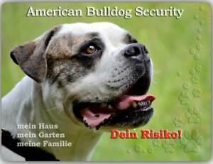Warnschild - Schild aus Aluminium - Motiv: American Bulldog Security 01