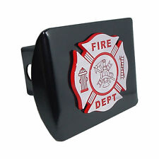 Firefighter Chrome and Red, Black Trailer Hitch Cover Maltese Cross