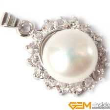 16x22mm Fashion Jewerly GP Base With Rhinestone Freshwater Pearl Pendant Gift