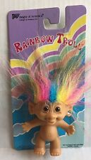 "Vintage 3"" RAINBOW HAIR TROLL DOLL Bright of America NEW ON CARD Earring Gem"