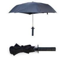 black sword umbrella long handle sunny umbrella women lady Self-defense foldable