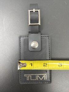 "TUMI Black w/ Silver Letters luggage ID TAG LARGE 3.3"" X 2.2"" (K-82)"