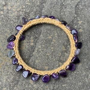 Crochet Bangle Bracelet Handmade With Amethyst And Golden Cotton Thread