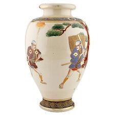 Japanese Satsuma Vase - Samurai Warriors Crackled Porcelain Gilt Meiji Moriage