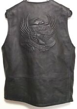 HARLEY DAVIDSON MENS BLACK LEATHER EAGLE MOTORCYCLE RIDING VEST SIZE SMALL