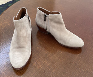 Sam Edelman Beige Petty Leather Suede Small Heel Ankle Bootie Boots Size 8.5