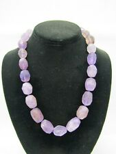 """18 3/4"""" 13mm Faceted Amethyst Necklace With Sterling Silver Clasp"""