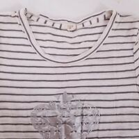 J.CREW Short Sleeve Crewneck Shirt Top Women's Size Small Striped White Black