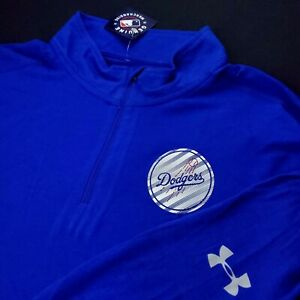 Under Armour Los Angeles Dodgers Men Performance Half Zip Pullover Sweater Polo