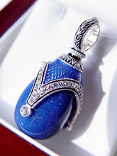 SALE ! SUPERB RUSSIAN EGG PENDANT STERLING SILVER 925 with GENUINE LAPIS