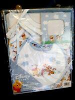 4pc Baby Infant Gift Set Pooh 2 Bodysuits Bib Photo Frame Baby Shower Gift Blue