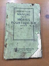 Vintage Morris Fourteen Six Series II Operation Manual Catalog