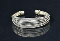 "BRAIDED CUFF Bracelet 7"" - SOLID SILVER - 30 GRAMS"