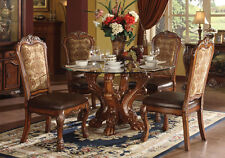 5 Pc Dresden Traditional Dining Set Glass Table Top Craw Foot Decor Cherry  Oak
