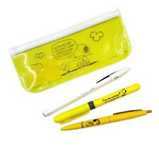 Peanuts Snoopy Bic 2 Ballpoint Pens + 1 Highlighter with Pen Pouch Set (Yellow)