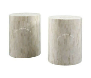 Handmade White Bone Inlay Antique vintage bedside Table stool (Set of Two)