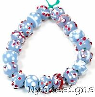"Handmade Lampwork Glass Blue swirl Red dots 12x9mm Rondelle Beads 7.0"" (I4)"