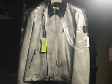 Men's Versace leather Moto jacket size 50 stone white grey