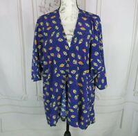 LuLaRoe Lindsay Cardigan Size M  Navy Blue Leaves Open Front Short Sleeve Kimono