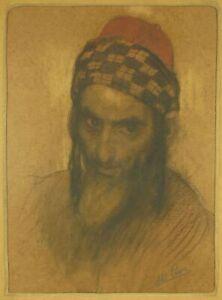 ABEL PANN Pastel Judaica Painting Jewish Man Israeli Artist Bezalel Jerusalem