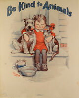 """""""Be Kind to Animals"""" Vintage A3 Poster (Replica Veterinary Picture Pets Dog Cat)"""