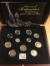 2008 Britannia's Last Century Or et Platine 11 Coin Collection Cased + COA