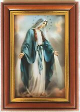OUR LADY OF GRACE / MIRACULOUS - Small Wood Framed Picture / Print - 17cm x 12cm