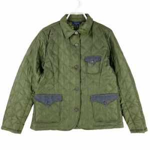 Lands End Womens Quilted Barn Utility Chore Jacket Green Polyester Fill M 10-12