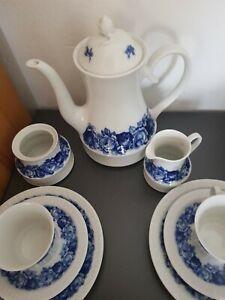 Arzberg Schumann Kaffee Service ECHT Cobalt Inglasur BLAUE ROSE 21 TEIL