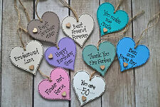PERSONALISED WOODEN HEART GIFT TAGS GOOD LUCK BEST FRIEND TEACHER BIRTHDAY