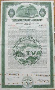 TVA / Tennessee Valley Authority 1961 Vertical Bond Certificate - TN Tenn