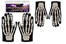 SKELETON GLOVES CHILDREN HALLOWEEN BONE PRINT KIDS ADULT FANCY DRESS JOB LOT