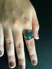 Ring Big Silver Green Jade Hippie Boho Gypsy Tribal Bohemian R1016