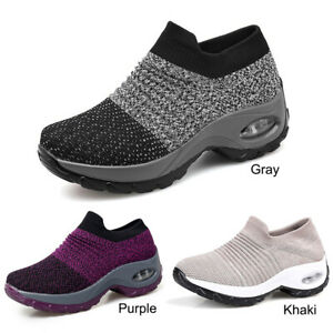 1 Pair Walking Shoes Air Cushion Mesh Sock Sneakers For Women Breathable
