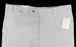 Men's HART SCHAFFNER MARX White Blue Stripe Seersucker Pants 36 NWT NEW $150 WoW