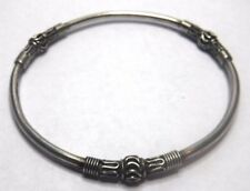 "Bali Suarti Designer 7 3/4"" Sterling Silver Ball and Roped Bangle Bracelet"