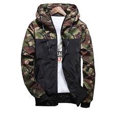 Men's Casual Camo Thin Hooded Jacket Wind Breaker Sport Loose Coat Tops Trendcy