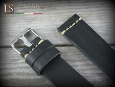 Cinturino in Pelle LS CUOIO VINTAGE LARGE 22 mm Watch Strap Band Black Nero
