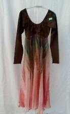 Girls Long Sleeve Ombre Dance Skate Fairy Leotard w/ Long Sheer Skirt Costume L