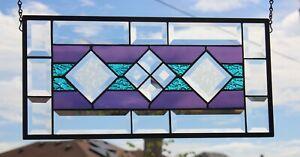 "Purple & Aqua  Beveled Stained Glass Window Panel-19 1/2"" x 9 1/2"""