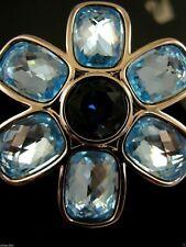 Signed Swarovski Blue Topaz Crystal Flower Pin~Brooch Plating Retired Rare