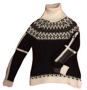 GAASTRA Rollkragen Pullover Gr. M NP 129 € Norweger Muster Schwarz Grau Creme