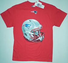 NEW ENGLAND PATRIOTS Mens Red Screen Print Big Helmet Logo S/S Tee Shirt LG NWT