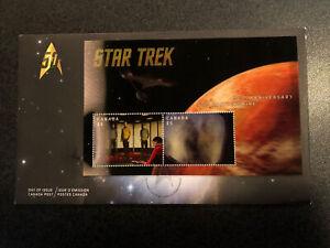 STAR TREK LENTICULAR 3D ANIMATED Souvenir Sheet OFDC Canada Post 2016 Rare