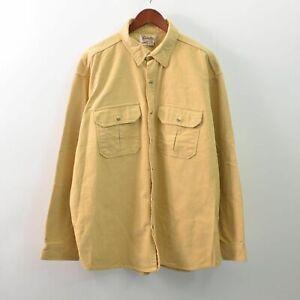 Cabelas Vintage Chamois Cloth Shirt Button Front Yellow Mens 2XLT