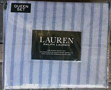RALPH LAUREN HOME~QUEEN SHEET SET~FOUR PIECE~CHIC MASCULINE STRIPE~BLUES~NIP!