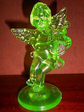 Green Vaseline glass Angel Cupid firgurine harp uranium yellow art glows canary